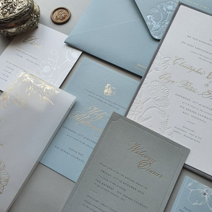 Dusty Blue Flowers by Pensée invitation & stationery - 003