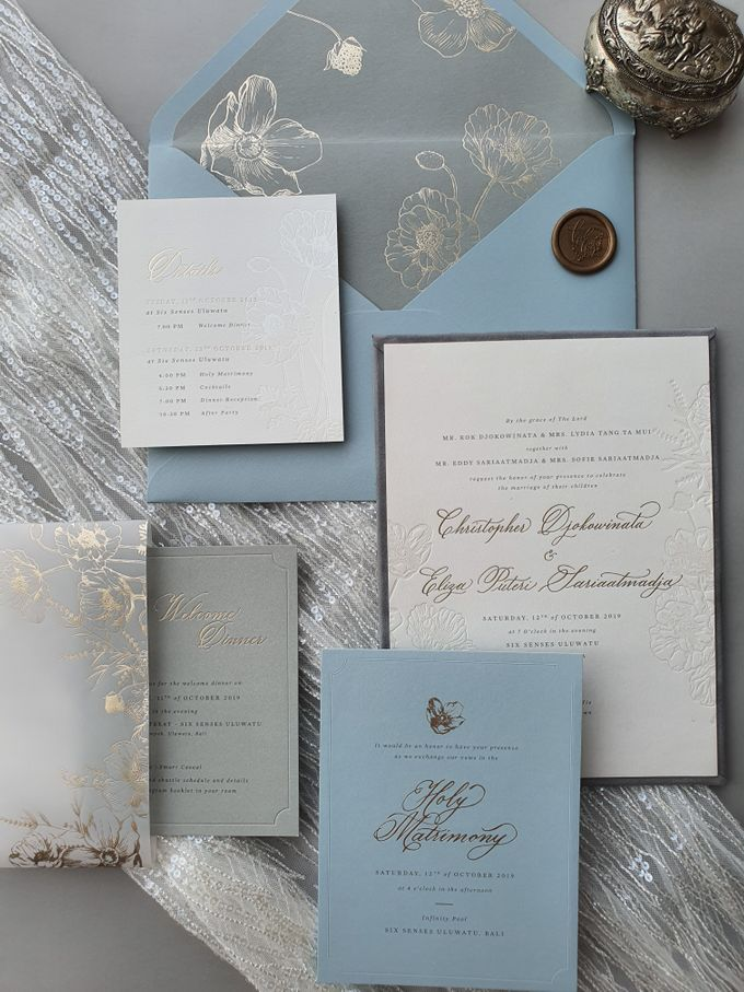 Dusty Blue Flowers by Pensée invitation & stationery - 004