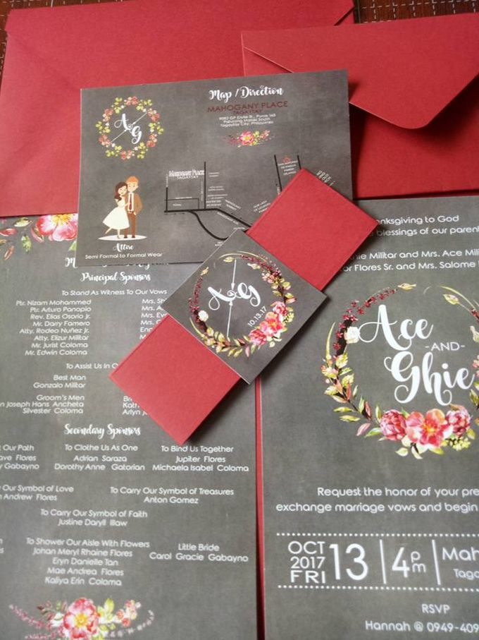 Rustic Invitation in Chalkboard by Ribbons and Prints - 001