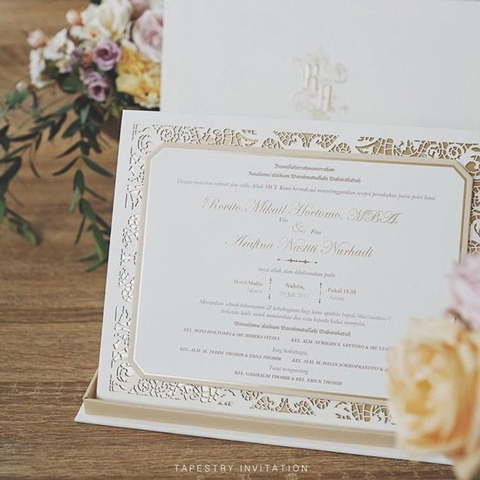 Laser cut lace pattern with gold foil accent for the loving couple by Tapestry Invitation - 002