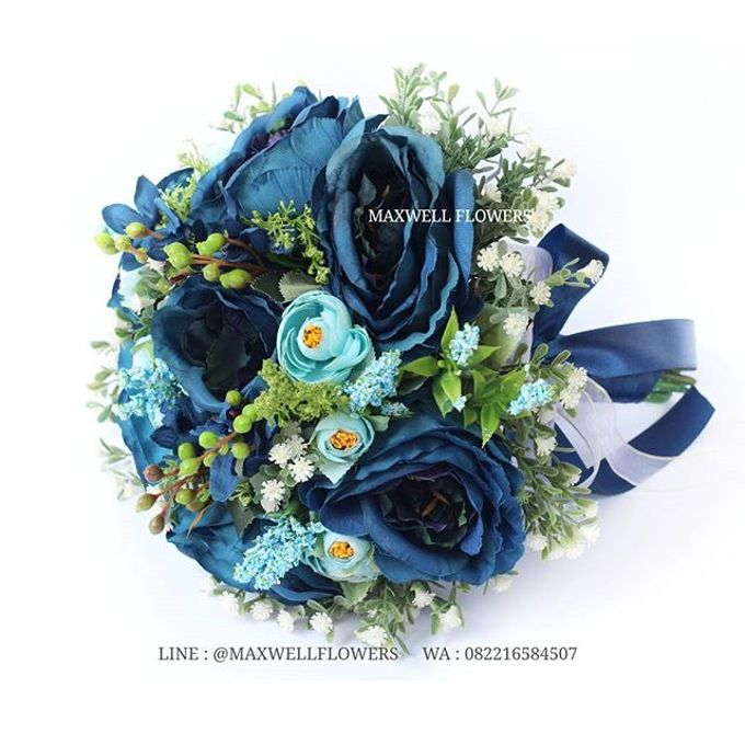 Faux or Artificial Flowers Wedding Bouquet by Maxwell Flowers - 002