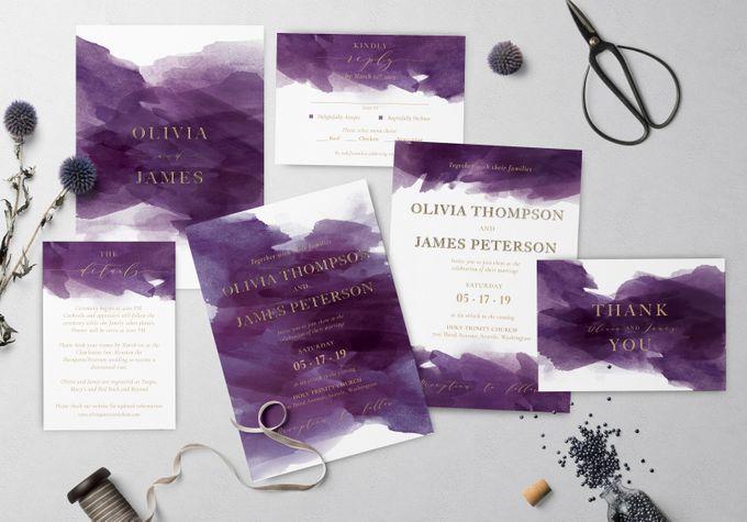 Purple Watercolor by Trouvaille Invitation - 001