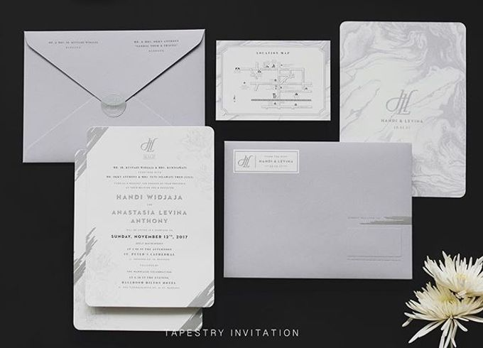 A monochromatic design with marblish pattern creates a simple yet sophisticated design by Tapestry Invitation - 001