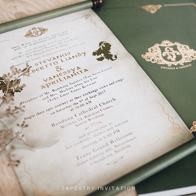 Up close with this scroll invitation we produced for Stevanus and Vanessya Wedding by Tapestry Invitation - 003
