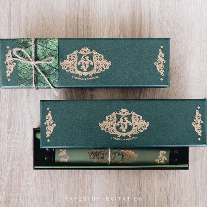 Up close with this scroll invitation we produced for Stevanus and Vanessya Wedding by Tapestry Invitation - 001