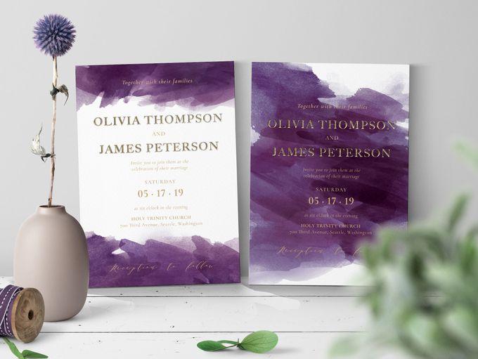 Purple Watercolor by Trouvaille Invitation - 002