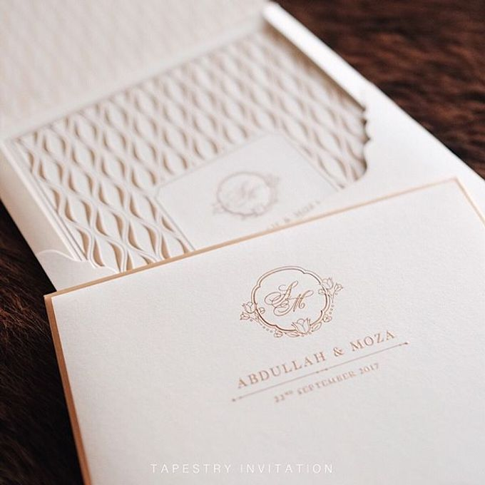 A simple yet elegant gold on creme invitation for our client in a far away country by Tapestry Invitation - 001