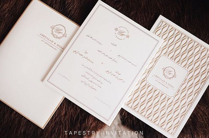A simple yet elegant gold on creme invitation for our client in a far away country by Tapestry Invitation - 003