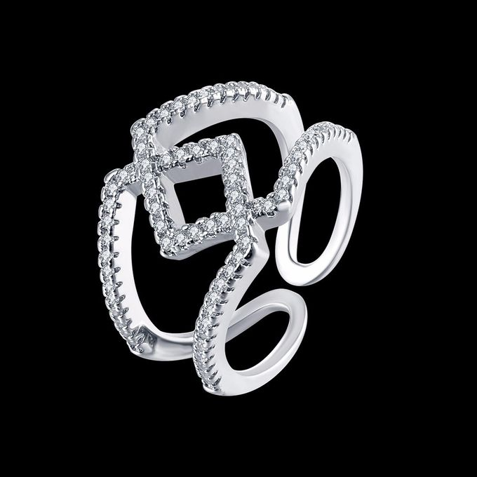 TIARIA Diamond Stack Gold Ring Perhiasan Cincin Emas Berlian by TIARIA - 006