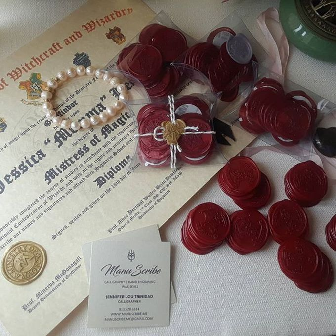 Wax Seals, Calligraphy, Place cards, European Bead by Manuscribe Calligraphy - 034