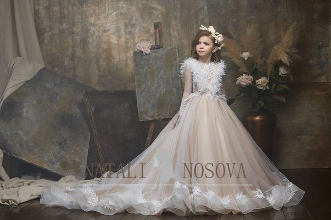delicate dress in powdery color for flower girls art 3000 by Natali Nosova - 001