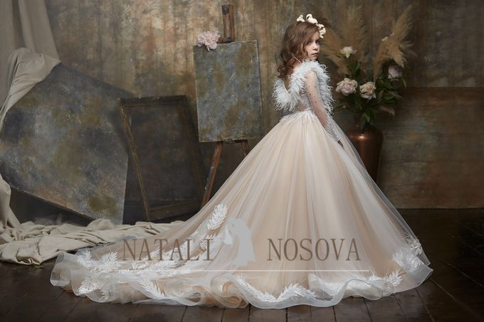 delicate dress in powdery color for flower girls art 3000 by Natali Nosova - 002