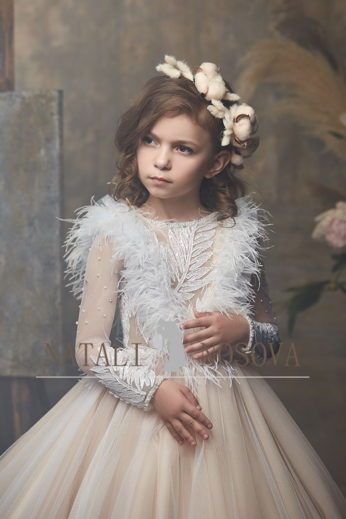 delicate dress in powdery color for flower girls art 3000 by Natali Nosova - 003
