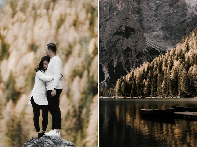 Lago di Braies Pre Wedding Couple Shoot - the most beautiful lake of Dolomites in Italy. by Fotomagoria - 040