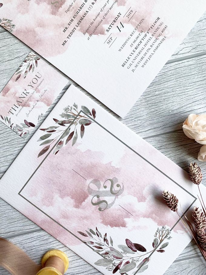 Modern Dusty Pink Botanical by Trouvaille Invitation - 002