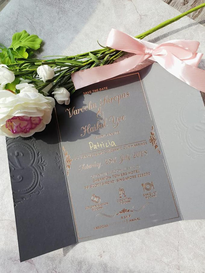 Rose Gold & Gray Customized Wedding Invitation by Yours to Pledge - 002