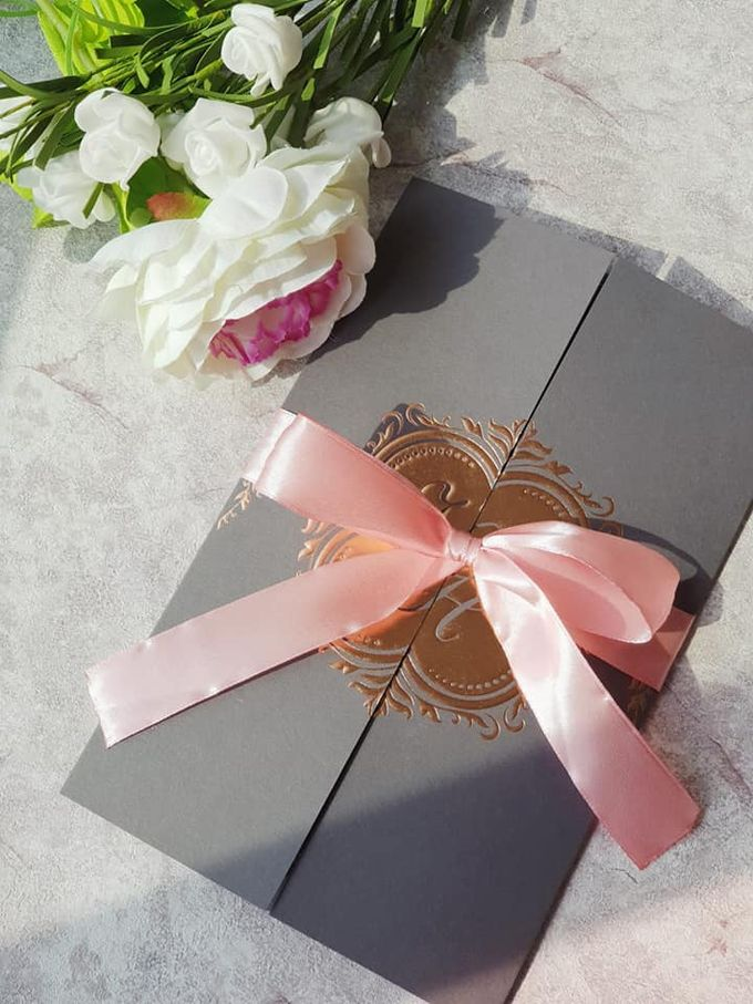 Rose Gold & Gray Customized Wedding Invitation by Yours to Pledge - 003
