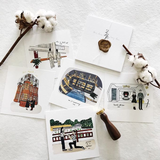 Love Story Illustrations | Zhen Huan & Jing Huai by dora prints and paper goods - 001