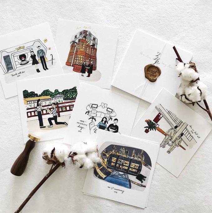 Love Story Illustrations | Zhen Huan & Jing Huai by dora prints and paper goods - 002