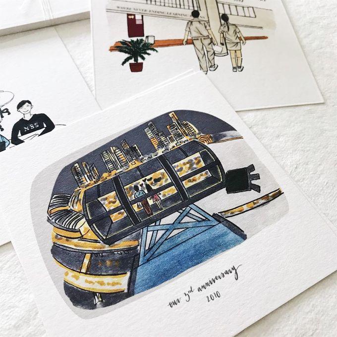 Love Story Illustrations | Zhen Huan & Jing Huai by dora prints and paper goods - 006