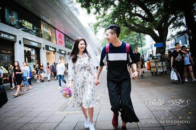 Bustling Street of Hong Kong by Cang Ai Wedding - 020