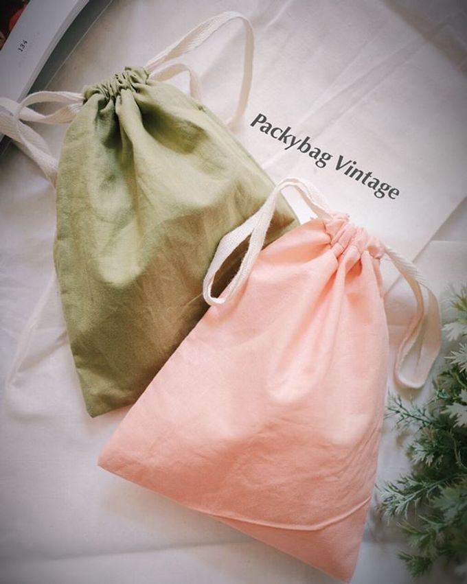 Pouch drawstring Linen & Satin import material by Packy Bag Vintage - 004