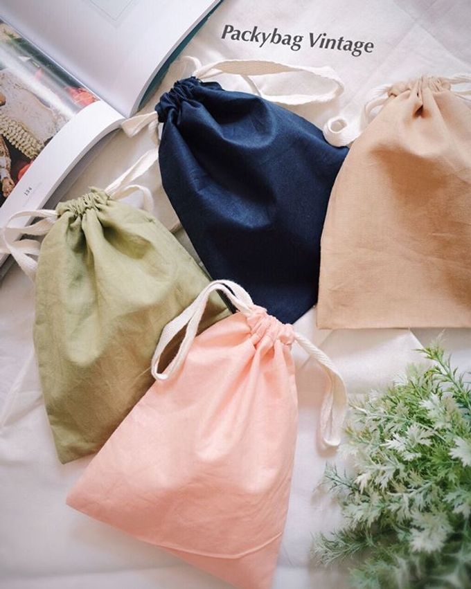 Pouch drawstring Linen & Satin import material by Packy Bag Vintage - 003