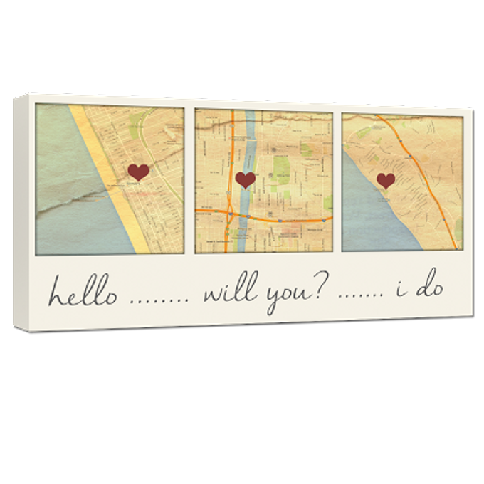 Custom Map Wall Art YOUR 3 Special Locations Canvas Holiday Gift for Spouse by Geezees Custom Canvas - 004