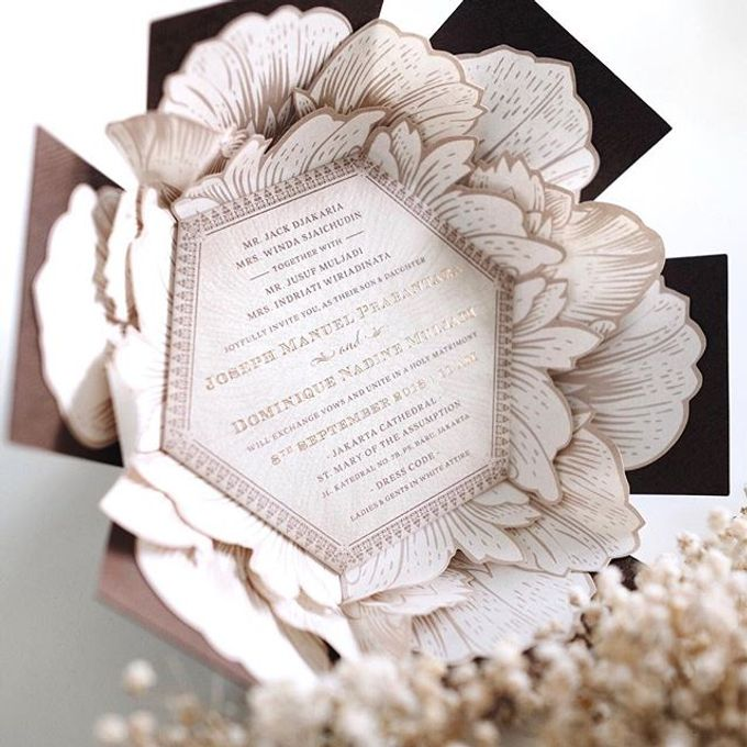 A flower themed holy matrimony invitation wrapped neatly in a hexagonal box for Joseph & Nadine by Tapestry Invitation - 002