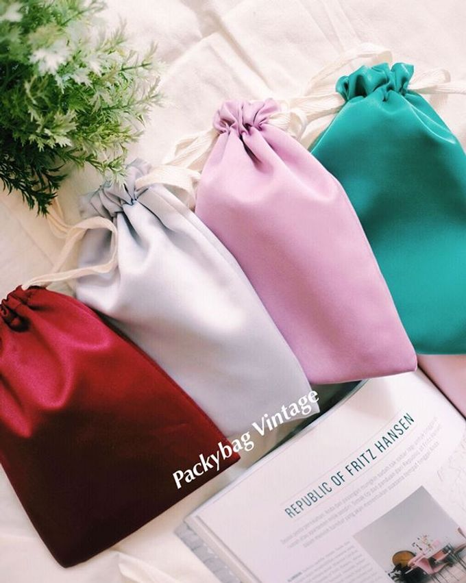 Pouch drawstring Linen & Satin import material by Packy Bag Vintage - 002