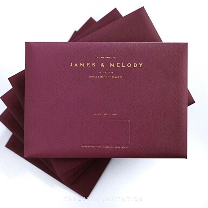 Red gold simple single panel invitation for James & Melody by Tapestry Invitation - 002