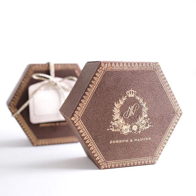 A flower themed holy matrimony invitation wrapped neatly in a hexagonal box for Joseph & Nadine by Tapestry Invitation - 003