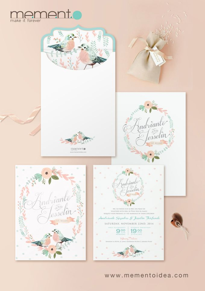 Floral Bird Wedding Card by Memento Idea - 003