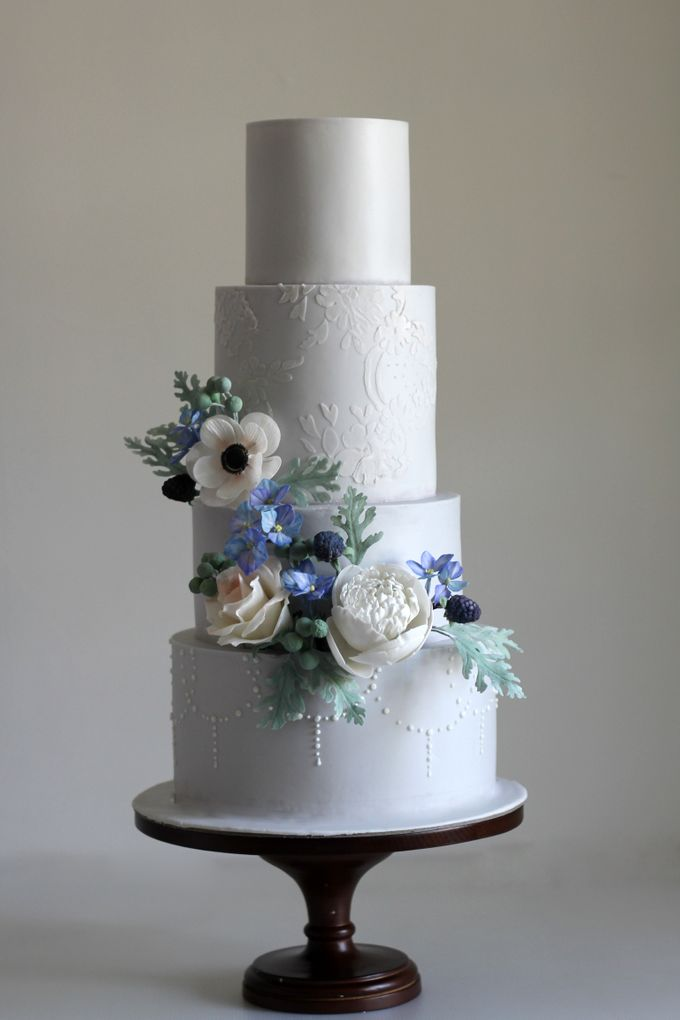Four Tiered Cake with Edible Sugar Flowers by Cher - 003
