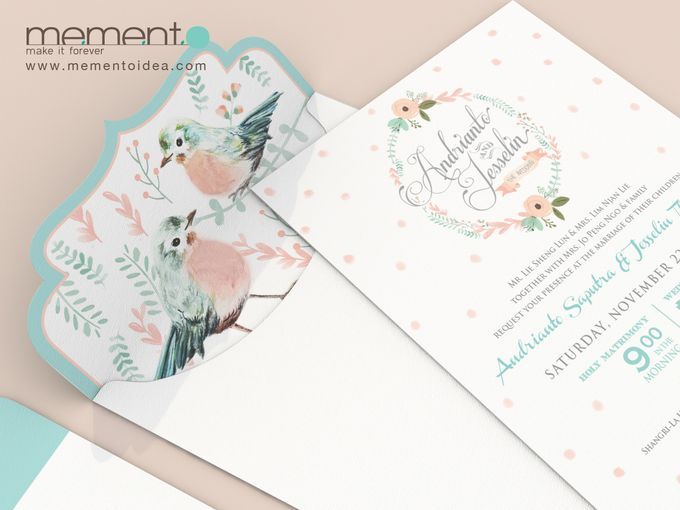 Floral Bird Wedding Card by Memento Idea - 001
