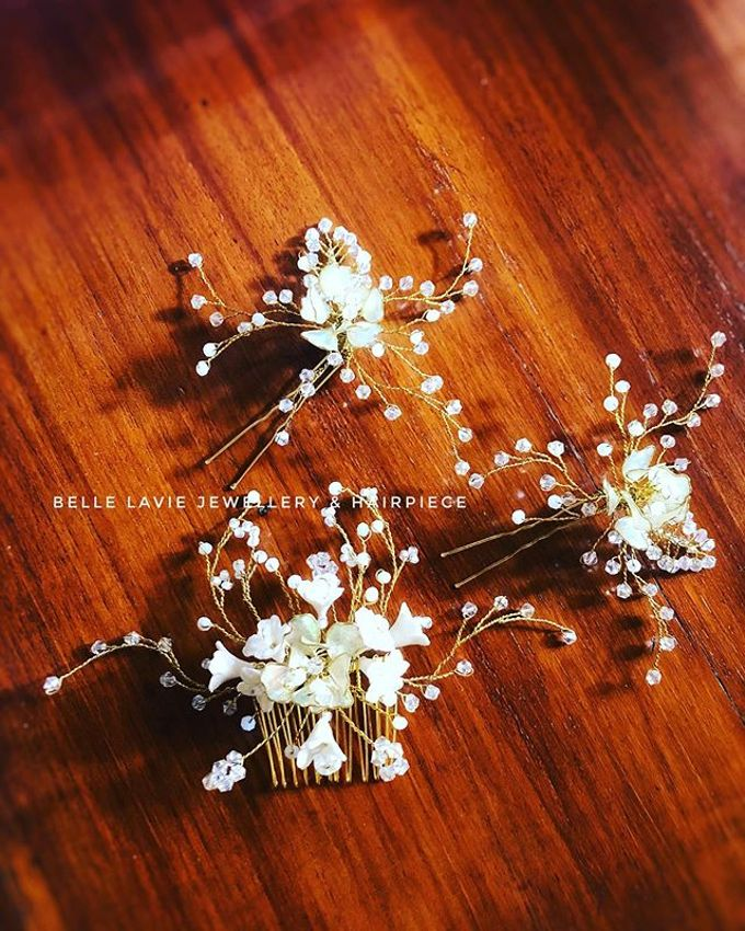 White flower Haircomb & Hairpin sets by Belle La_vie - 007