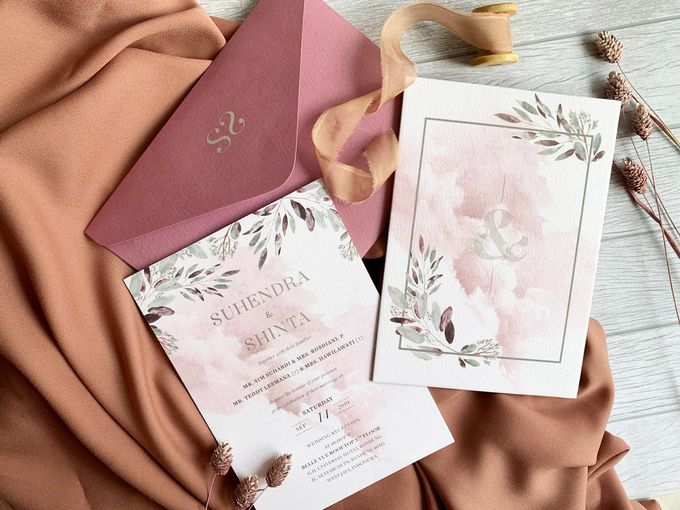 Modern Dusty Pink Botanical by Trouvaille Invitation - 001
