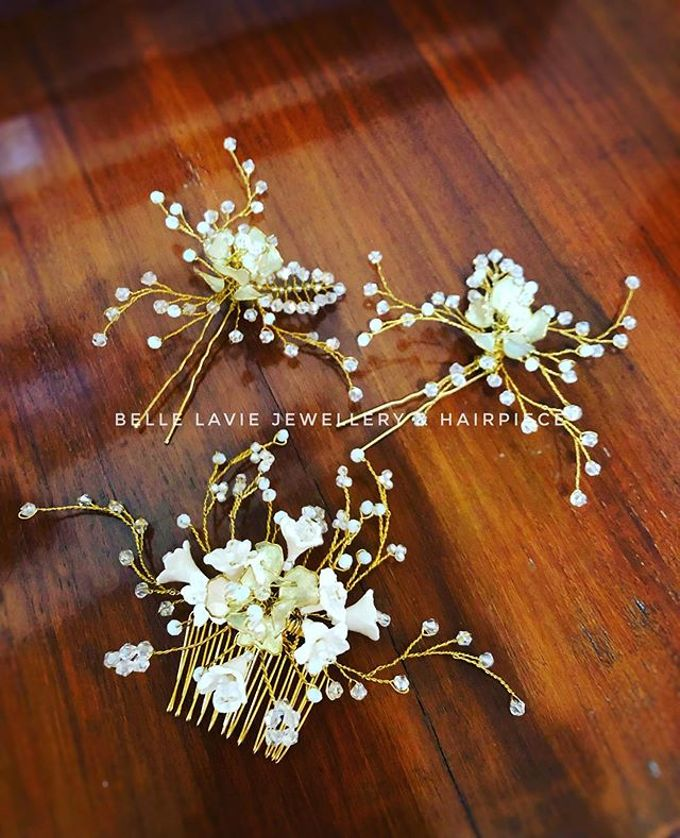 White flower Haircomb & Hairpin sets by Belle La_vie - 006