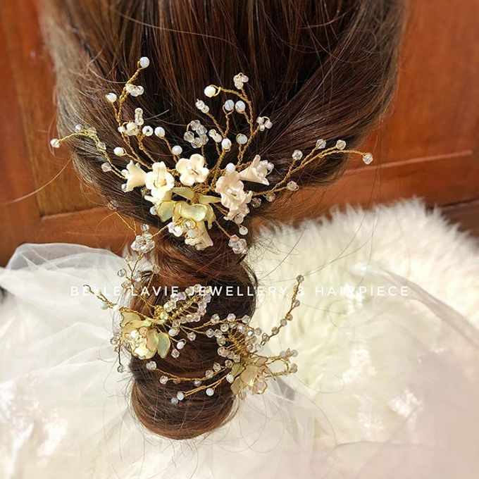 White flower Haircomb & Hairpin sets by Belle La_vie - 005
