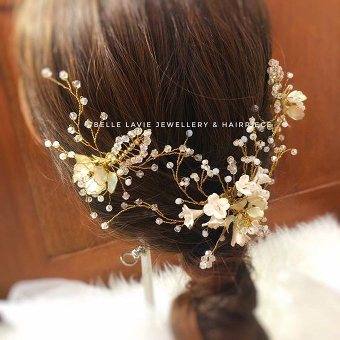White flower Haircomb & Hairpin sets by Belle La_vie - 001