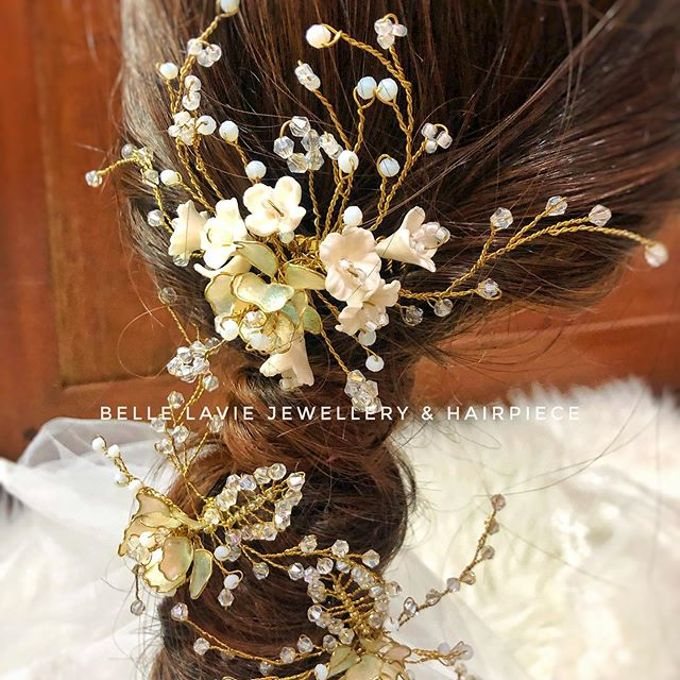 White flower Haircomb & Hairpin sets by Belle La_vie - 004