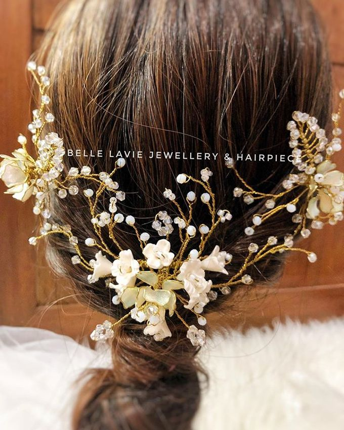 White flower Haircomb & Hairpin sets by Belle La_vie - 003