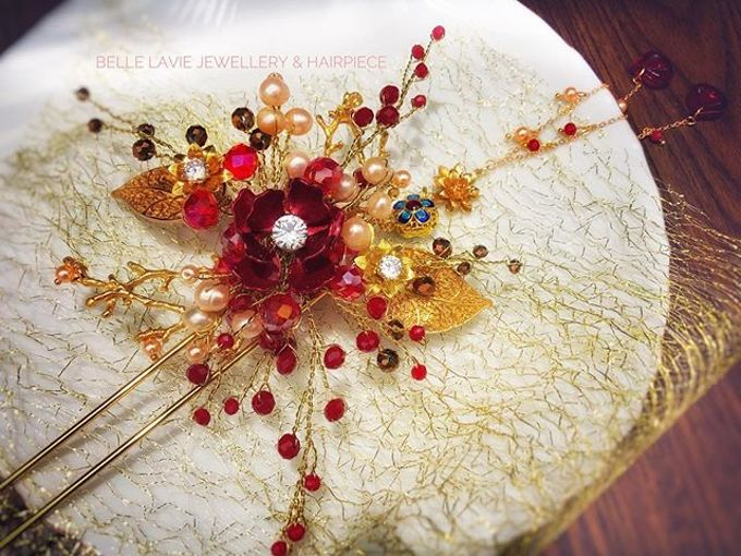Red Scarlet Chinese Hairpin for Ms.Nerissa by Belle La_vie - 001