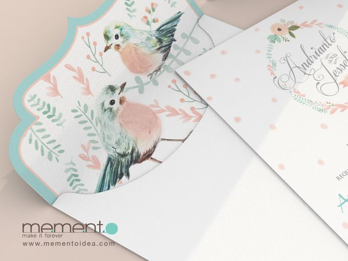 Floral Bird Wedding Card by Memento Idea - 006