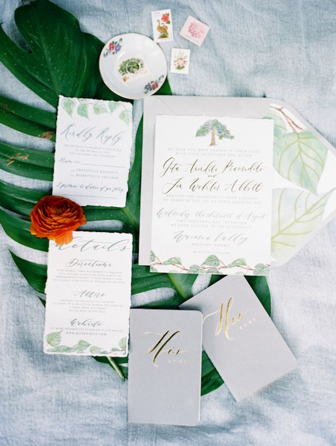 Gita Anindita & Jon Abbott Invitation Suite by Meilifluous Calligraphy & Design - 001