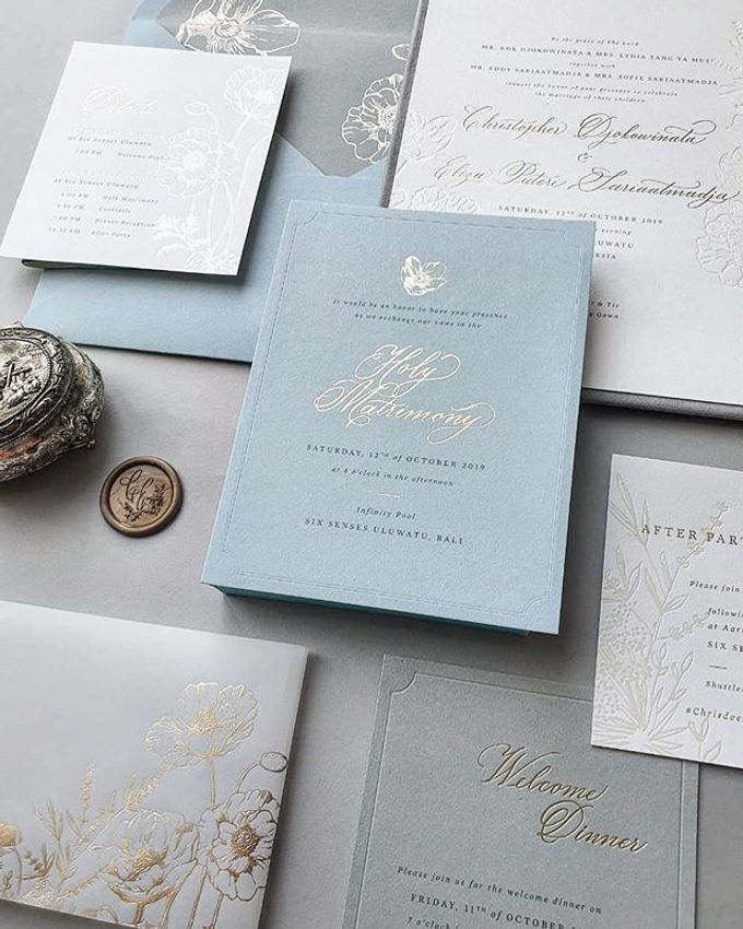 Dusty Blue Flowers by Pensée invitation & stationery - 007