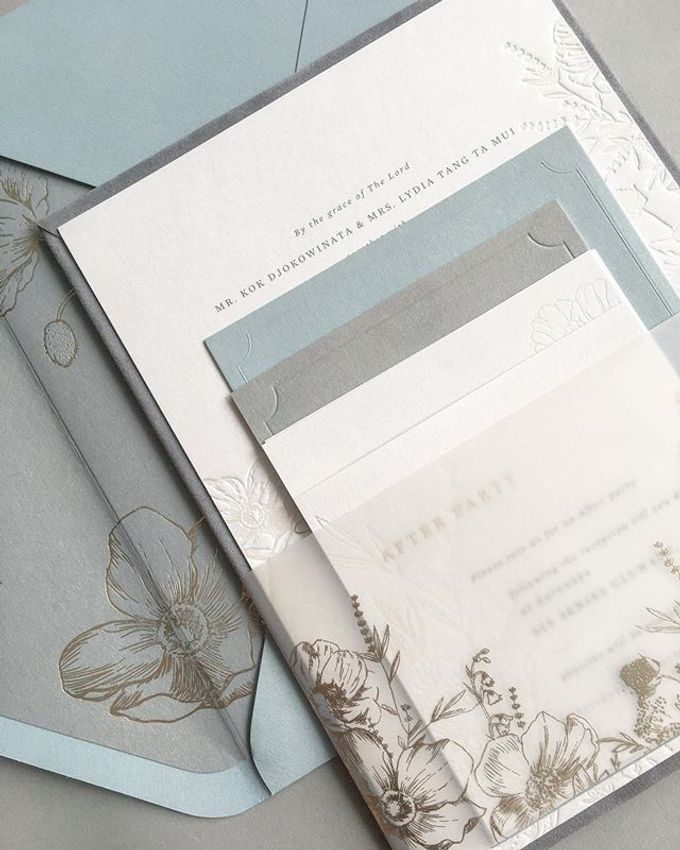 Dusty Blue Flowers by Pensée invitation & stationery - 006