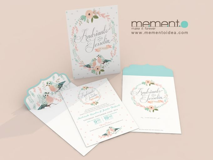 Floral Bird Wedding Card by Memento Idea - 004