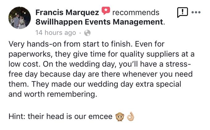 Client Appreciation and Feedback for 8willhappen Events Management by 8willhappen Events Management - 001