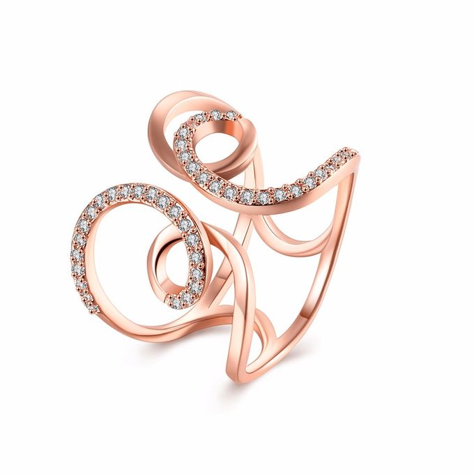 TIARIA Diamond Curly Gold Ring Perhiasan Cincin Emas Berlian by TIARIA - 003